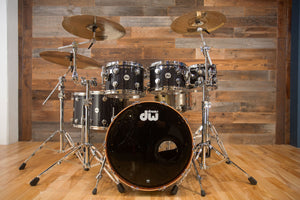 DW COLLECTORS SERIES MAPLE / MAHOGANY HYBRID 6 PIECE DRUM KIT, BLACK ICE FINISH PLY (PRE-LOVED)
