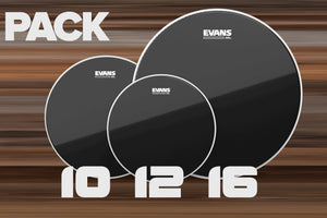 EVANS BLACK CHROME ROCK TOM HEAD PACK, 10, 12 & 16 DRUM HEADS