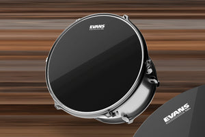 "EVANS BLACK CHROME TOM BATTER DRUM HEAD (SIZES 6"" TO 20"")"