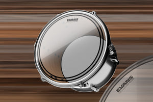 "EVANS EC2S CLEAR TOM BATTER DRUM HEAD (SIZES 6"" TO 18"")"