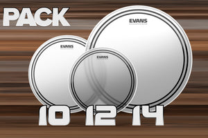 EVANS EC2 FROSTED TOM FUSION DRUM HEAD PACK, 10, 12 & 14