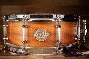 EVETTS 14 X 5 TASMANIAN BLACKWOOD SNARE DRUM, NATURAL SATIN