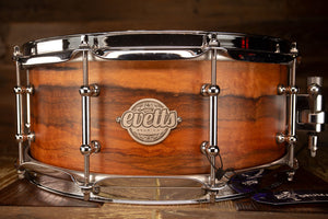 EVETTS 14 X 5.75 QUEENSLAND WALNUT NATURAL SATIN SNARE DRUM