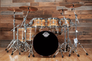 EVETTS JARRAH SHELL 6 PIECE DRUM KIT, BLACKHEART SASSAFRAS SMOOTH SATIN VENEER