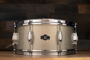 GEORGE WAY STUDIO SERIES 14 X 6.5 MAPLE / POPLAR SNARE DRUM, SILVER SPARKLE, (PRE-LOVED)