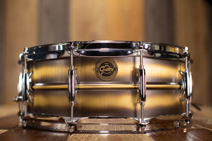 GRETSCH 14 X 5.5 GOLD SERIES BRUSHED BRASS SNARE DRUM (PRE-LOVED)