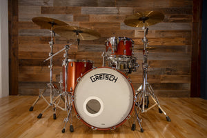 GRETSCH BROADKASTER 3 PIECE DRUM KIT, STANDARD BUILD HARDWARE, SATIN COPPER (PRE-LOVED)