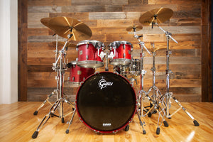 GRETSCH BROADKASTER 4 PIECE DRUM KIT, SATIN WINE RED, GUN METAL FITTINGS, CIRCA 2000-02 (PRE-LOVED)
