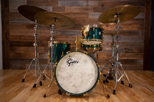 GRETSCH USA CUSTOM 125TH ANNIVERSARY PROGRESSIVE JAZZ 4 PIECE DRUM KIT, CADILLAC GREEN, GOLD HARDWARE (PRE-LOVED)
