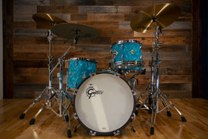 GRETSCH USA CUSTOM 50TH ANNIVERSARY 4 PIECE DRUM KIT, AQUA SATIN FLAME, SIGNED BY FRED GRETSCH (PRE-LOVED)