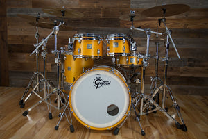 GRETSCH USA CUSTOM '98-'99 SQUARE BADGE  5 PIECE DRUM KIT, SATIN SUN AMBER (PRE-LOVED)