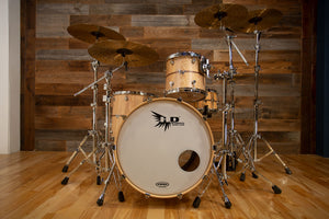 HENDRIX DRUMS ARCHETYPE SERIES ASH 3 PIECE DRUM KIT, ASH SATIN WITH WALNUT INLAY