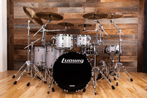 LUDWIG CLASSIC MAPLE 6 PIECE DRUM KIT, SILVER SPARKLE (EX-DEMONSTRATION SPECIAL)