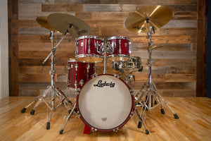 LUDWIG USA CLASSIC MAPLE 4 PIECE DRUM KIT, CHERRY STAIN, 1996 (PRE-LOVED)