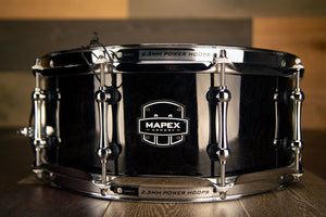 MAPEX ARMORY SABRE 14 X 5.5 MAPLE / WALNUT SNARE DRUM, TRANSPARENT BLACK OVER FIGURED WOOD