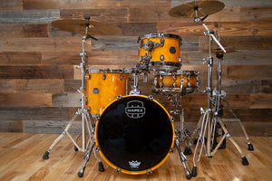 MAPEX SATURN V EXOTIC CLUB CLASSIC (BOP) 3 PIECE DRUM KIT, AMBER MAPLE BURL
