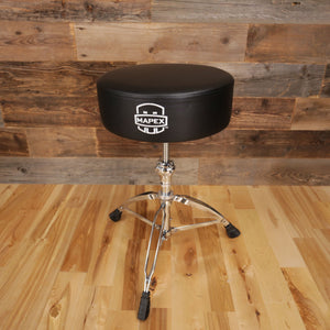 MAPEX T750A BLACK ROUND TOM DRUM THRONE, SPIN SHAFT BASE (DRUM STOOL)