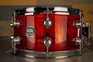 NATAL ARCADIA 13 X 6.5 TRANSPARENT RED ACRYLIC SNARE DRUM