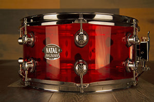 NATAL ARCADIA 14 X 6.5 TRANSPARENT RED ACRYLIC SNARE DRUM
