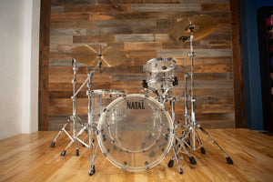 NATAL ARCADIA ACRYLIC 3 PIECE DRUM KIT, TRANSPARENT