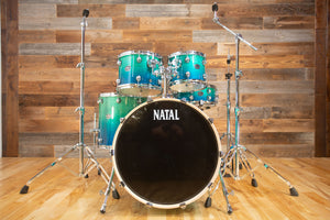NATAL ARCADIA UF22 5 PIECE DRUM KIT WITH HARDWARE, MARINE BLUE TO DARK BLUE FADE LACQUER