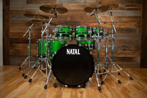 NATAL CAFÉ RACER 7 PIECE CUSTOM ORDER DRUM KIT, GREEN SPARKLE WITH BLACK SPARKLE DOUBLE SPLIT (PRE-LOVED)