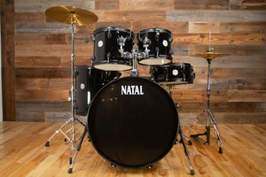 NATAL EVO UF22 COMPLETE 5 PIECE STARTER DRUM KIT WITH STANDS AND CYMBALS, BLACK