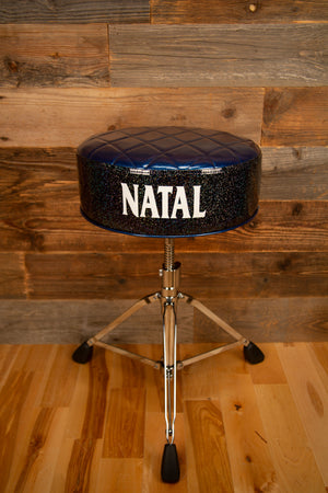 NATAL FAT TOP DELUXE DRUMMERS THRONE, BLUE TOP WITH BLACK SIDES