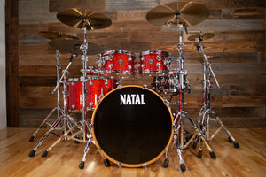NATAL MAPLE ORIGINALS 5 PIECE DRUM KIT, RED SPARKLE LACQUER
