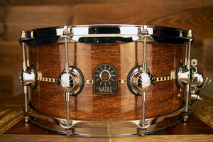 NATAL TULIPWOOD 14 X 6.5 INLAY SNARE DRUM, GLOSS FINISH