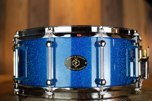 NOBLE & COOLEY ALLOY CLASSIC 14 X 6 SNARE DRUM, SPECIALLY ORDERED CAIRO BLUE HOLO SPARKLE LACQUER