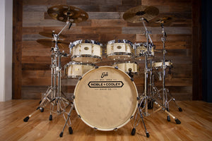 NOBLE & COOLEY CD MAPLE 'STAR INSPIRED' CUSTOM 5 PIECE DRUM KIT, WHITE LACQUER