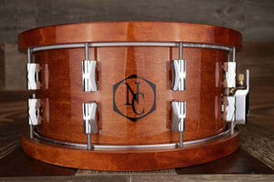NOBLE & COOLEY 14 X 6.5 CD MAPLE SNARE DRUM, HONEY MAPLE GLOSS WITH WOOD HOOPS