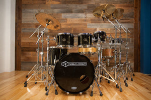 NOBLE & COOLEY HORIZON 5 PIECE CUSTOM SPEC 5 PIECE DRUM KIT, PIANO BLACK LACQUER, LONG BRASS LUGS (PRE-LOVED)