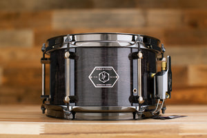 NOBLE & COOLEY 10 X 6 HORIZON SNARE DRUM, MAPLE / MAHOGANY HYBRID, BLACK WASH GLOSS, BLACK CHROME FITTINGS