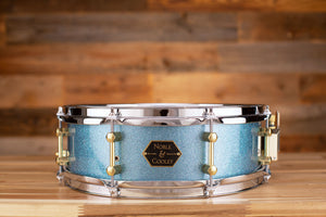 NOBLE & COOLEY 14 X 4.75 WALNUT PLY SNARE DRUM AQUA SPARKLE LACQUER, BRASS LUGS, CHROME HOOPS