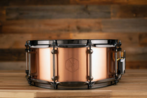 NOBLE & COOLEY 14 X 6 COPPER CLASSIC SNARE DRUM, BLACK CHROME HARDWARE