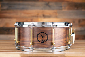NOBLE & COOLEY 14 X 6 SS CLASSIC SOLID SHELL WALNUT SNARE DRUM, CLEAR OIL, WOOD BURN LOGO
