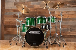 NOBLE & COOLEY HORIZON SERIES 5 PIECE DRUM KIT, TRANSLUCENT GREEN GLOSS,  BRASS LUGS, NATURAL REVEAL BADGES