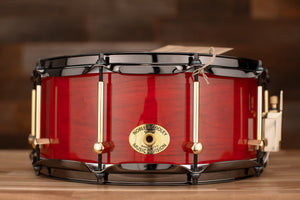 NOBLE & COOLEY 14 X 6 SS CLASSIC CHERRY SOLID SHELL SNARE DRUM TRANSLUCENT RED GLOSS, BRASS LUGS, BLACK CHROME HOOPS