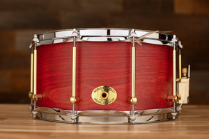 NOBLE & COOLEY 14 X 7 SS CLASSIC BEECH SOLID SHELL SNARE DRUM CHERRY MATTE BRASS LUGS / CHROME HOOPS