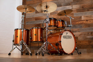 NOBLE & COOLEY UNION SERIES 5 PIECE DRUM KIT, TULIPWOOD, COPPER SPARKLE, BRASS AND BLACK FITTINGS