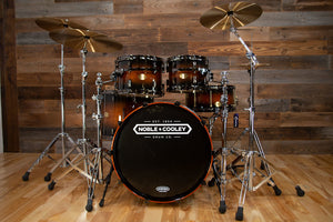 NOBLE & COOLEY CD MAPLE 4 PIECE DRUM KIT, HONEY MAPLE BLACK BURST LACQUER, BLACK CHROME FITTINGS