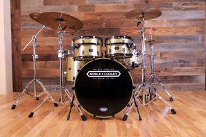 NOBLE & COOLEY HORIZON SERIES 4 PIECE DRUM KIT, GOLD SPARKLE LACQUER, BLACK CHROME FITTINGS