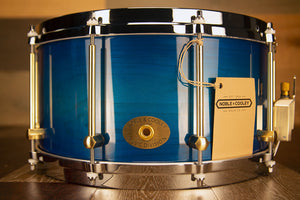 NOBLE & COOLEY 14 X 7 SS CLASSIC SOLID MAPLE SHELL SNARE DRUM, DIECAST HOOPS, TRANSLUCENT BLUE BURST