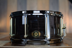 NOBLE & COOLEY 14 X 7 SS CLASSIC CHERRY SOLID SHELL SNARE DRUM BLACK WASH GLOSS WITH BRASS / BLACK CHROME HARDWARE