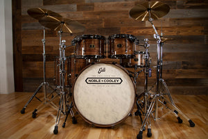 NOBLE & COOLEY WALNUT CLASSIC 5 PIECE DRUM KIT, NATURAL WALNUT GLOSS LACQUER