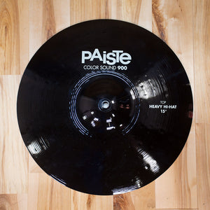 "PAISTE 15"" 900 COLOR SOUND SERIES BLACK HEAVY HI-HAT CYMBAL PAIR (EX GONG ROOM)"