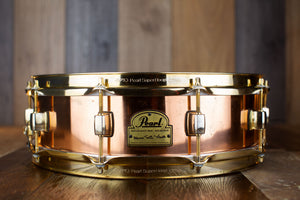 PEARL 14 X 4 MARVIN 'SMITTY' SMITH SIGNATURE COPPER SNARE DRUM, GOLD HARDWARE, (PRE-LOVED)