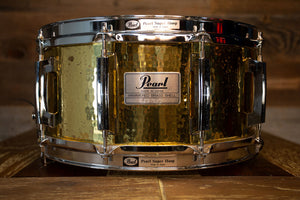 PEARL CUSTOM CLASSIC SERIES 14 X 6.5 HAMMERED BRASS SNARE DRUM, MADE IN JAPAN, CIRCA 1992 - 1994 (PRE-LOVED)